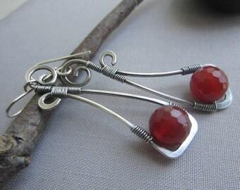 SALE 20% OFF/ Silver Wire Earrings/ Silver Earrings w. Carnelian/ Carnelian Earrings/ Gemstone Earrings/ Wire Earrings/ Long Silver Earrings