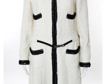 Stunning Vintage CHANEL BOUCLE WOOL Long Black and White Car Coat Stunning Classic Modern Size 40