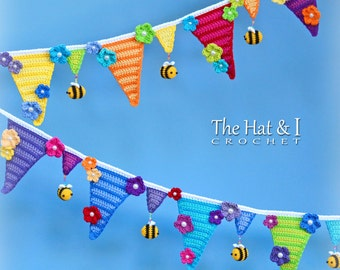 CROCHET PATTERN - Bee Happy Bunting - crochet bunting pattern, crochet garland, bumblee bee bunting, crochet banner  - Instant PDF Download