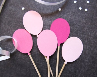 Balloon Cupcake Toppers, Party Decor, Pink, Birthday, Wedding, Shower, Graduation, Celebration, Double-Sided,  Set of 24