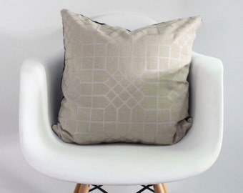 Penn Grid 20x20 pillow cover handprinted in metallic blush on natural organic hemp