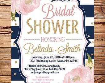 Roses Bridal Shower Invitation, navy, pink, gold, glitter, roses wedding invitation, romantic roses bridal shower invitation, 5342