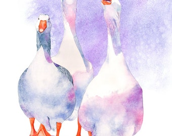 Geese print watercolour painting, G14416, A4 size print, Geese watercolor painting print, goose watercolour painting print
