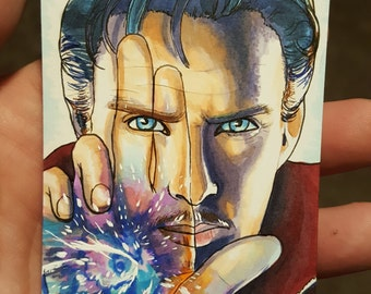 Doctor Strange Benedict Cumberbatch Marvel original colored ACEO Trading Card Traditional Artwork