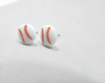 Base Ball Stud Earrings