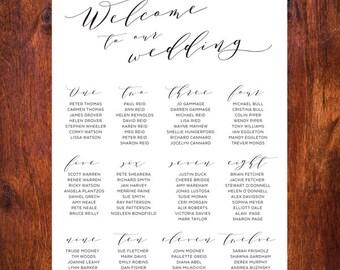 Modern Wedding Seating Chart Printable - Script 4