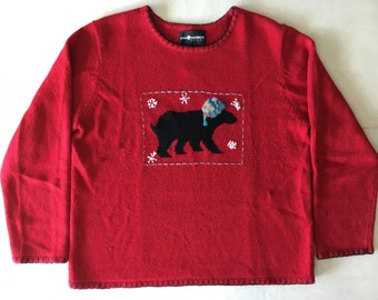 Vintage Red Beanie-Wearing Bear Sweater // Ugly Christmas Sweater
