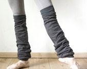 Slouchy cotton jersey leg warmers, custom made legwarmers, dancewear, long cuffed leg warmers in charcoal grey