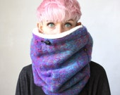 Wool cowl hood, Iridescent hooded cowl, Snock® in lovely multi-color wool blend with faux fur lining