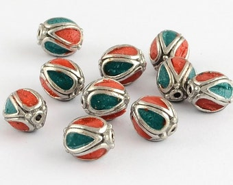 Red and Turquoise Antique Silver Metal Oval Handmade Indonesia Beads -5