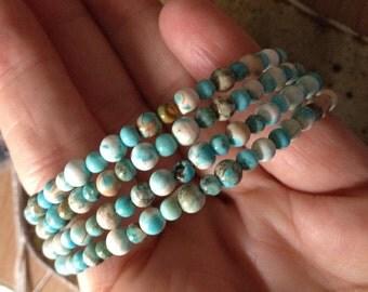Blue and white Magnesite wrap around bracelet, one of a kind, handmade jewelry, boho chic