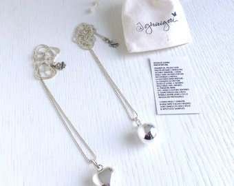 ANGEL CALLER Necklace with 20 mm silver plated round bola or heart and nickel free chain. A lucky pendant for a great gift