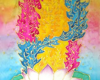 lotus silk wallhanging art,spiritual gift, lotus wallhanging, lotus art, meditation, reiki, metaphysical, 3 fold flame,silk art,metaphysical