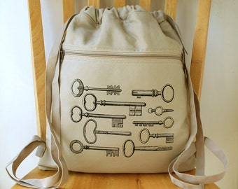 Key Print Steampunk Canvas Backpack Cinch Sack Gym Bag