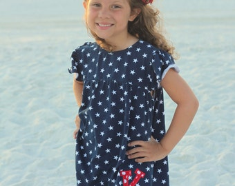 Girls outfit for 4th of July READY TO SHIP -- Patriotic Princess - navy star tunic and red striped shorties  - sizes 6m to girls 8