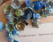 20 Wonderful Vintage Painted Metal Blue Hydrangea Flowers