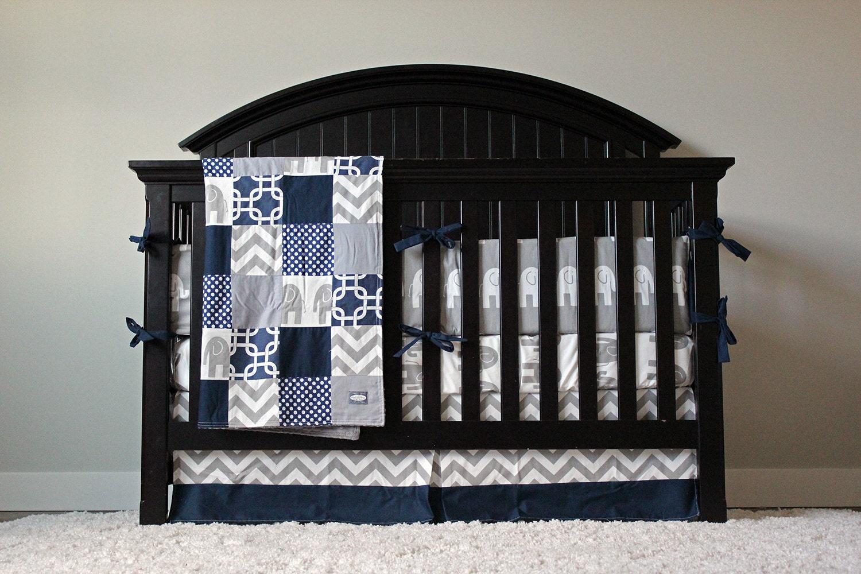 Crib Bedding Baby Bedding Crib Set Navy Blue Chevron And
