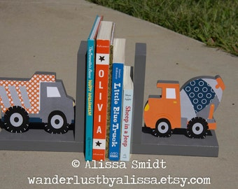 Construction Bookends, Wooden Dump Truck Cement Truck Bookends - Custom Created to Coordinate with Your Decor (construction)