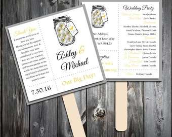 Mason Jar with Daisies Program Fans Kit -  Printing Included. Wedding ceremony programs