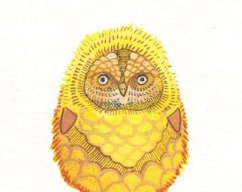 "Owl Watercolor Painting - Bird Art - Original Watercolor Painting - Owl Decor - Owl Nursery Art - 3""x4"""