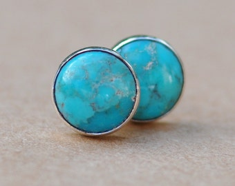 Turquoise Stud Earrings handmade with Sterling Silver settings, 8mm gemstone and silver earrings, turquoise jewelry, december, birthstone