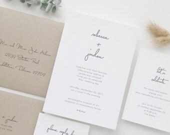Simple Wedding Invitation Sample - Rebecca | Letterpress Wedding Invitations | Black and White Wedding Invites | Grey Wedding | Gray Wedding