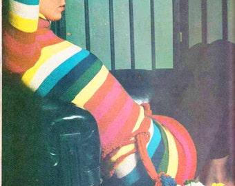 Boho Rainbow Stripe Sweater 1970s VINTAGE KNITTING PATTERN, Retro Hipster,Long Skinny Fit, Polo-neck, Instant Pdf from GrannyTakesATrip 0328