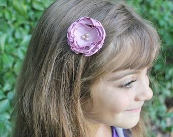 Boho Rose Flower Hair Clip - Dusty Rose Layered Flower with Pearls - Wedding Flower Hair Bow
