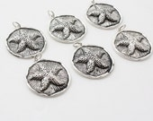 3 Sea Star Charms / Pendants Antique Silver tone necklace charm 1 1/4 inch diameter round starfish charm