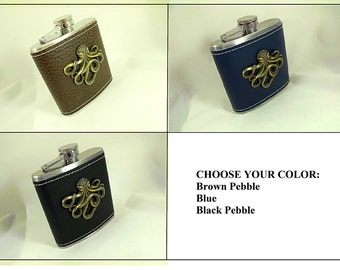 Flask,   Steampunk Octopus Flask Bronze Octopus Leatherette Wrapped, Choose Your Color Mens Womens Gift  Handmade
