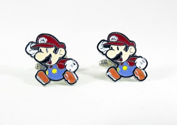 Cufflinks for Men, Video Game Mario Brothers Enameled