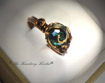 Teal Crystal Ring, Dragon Egg Ring, Blue Zircon Ring, Victorian Ring, Blue Zircon Teal Brass Czech Glass birthstone Ring, Size 7