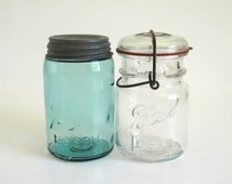 Ball Perfect Mason Jar Blue Canning Jar Pint Mason Jar Lot Ball Ideal Glass Lid Canning Jars Wire Bail Antique Zinc Lid (as-is)