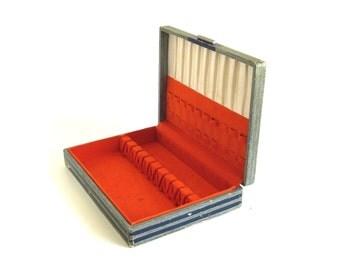 Silverware Chest Empty Anti Tarnish Silvercloth Interior Blue Silver Orange Flatware Case (as-is)