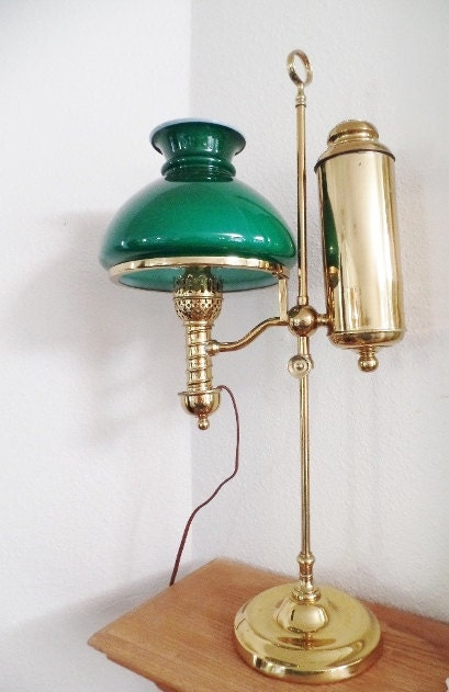 Manhattan Brass Co Antique Student Table Lamp Emerald Green