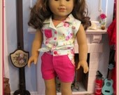 Button tie top in fuchsia and green floral for 18 inch dolls