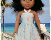 "Pink Flamingo Sundress for 14.5"" dolls"