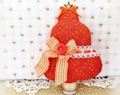 "Fabric Tree Ornament 5"" Free Standing Tree, Dark Orange Print Autumn Fall Halloween Primitive Favor Decoration CharlotteStyle Home Decor"