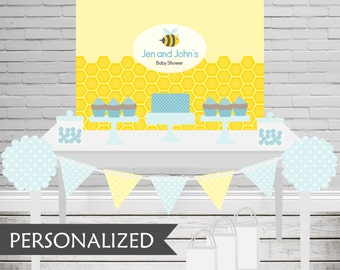 Printable Bee Baby Shower Backdrop - 3x4 ft. Personalized Printable Party Poster for Bee Themed Parties .. bp02