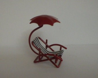 Red and White Beach Umbrella Chair Miniature for Fairy Garden or Dollhouse Fun