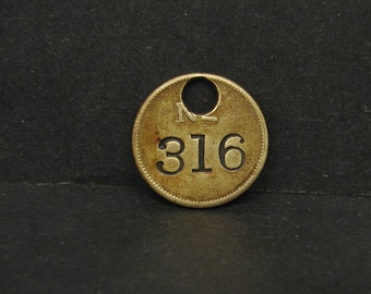 Antique Vintage Brass Tool Check Tag #316 Token Coin Motel Room Retro Keychain Key Ring Fob