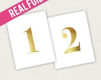 Wedding Table Numbers Foil Design - Foil Wedding Table Numbers - Foil Party Table Numbers - Gold Table Numbers - Gold Wedding Decorations