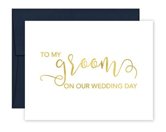 To My Groom on our Wedding Day Cards - Wedding Card - Day of Wedding Cards - Wedding Stationery - Groom Wedding Card (CH-B4S)