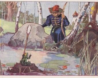 "G. Zubkovsky's Illustration for Russian Folk Tale ""The Princess Frog"" Postcard -- 1958"