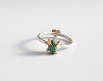 Prong Set Turquoise Stacking Ring In 14k Goldfill | Hidden Heart |  Valentines | Sterling Silver