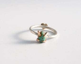 prong set turquoise stacking ring in 14k goldfill | hidden heart | valentines |  sterling silver | dainty adorable jewelry