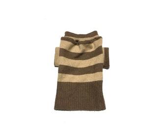 Designer Dog Sweater, Small Super Soft Brown Striped, Handmade Pet Puppy Apparel Clothes 0278