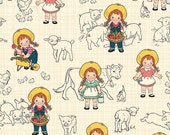 LAMINATED cotton fabric  by the yard - Farm girl country on cream EXCLUSIVE- Approved for children's products