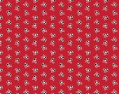 LAMINATED cotton fabric (aka oilcloth coated wipeable fabric)  by the yard - Blackbeard Red Skulls EXCLUSIVE approved for children's product