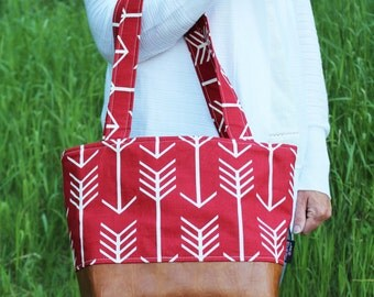 Lulu Medium Tote  Bag Red Arrow and PU Leather with Grey Lining Color- Purse Shoulder Straps 3 pockets Handbag Washable